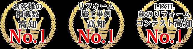 お客様の掲載数高知 NO.1 リフォーム施工事例高知 NO.1 LIXIL秋のリフォームコンテスト高知 NO.1